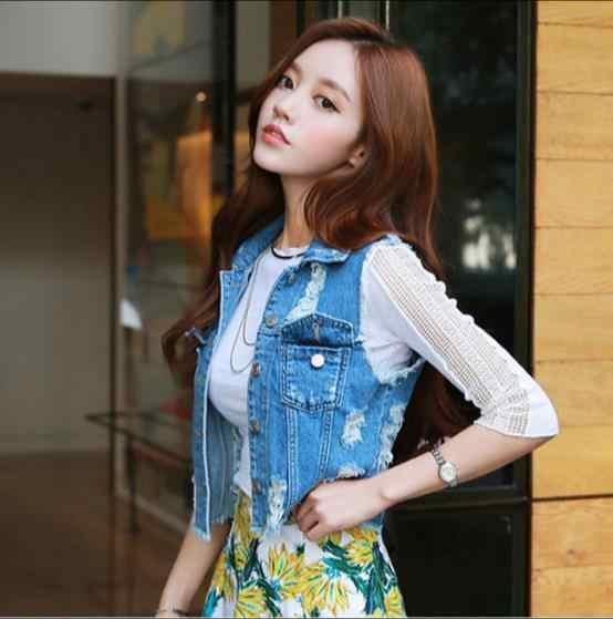 XL Высокое качество женские джинсовые Новинка 2019 г. весна без рукавов рваные кнопки деловая джинсовая одежда топы корректирующие JR77