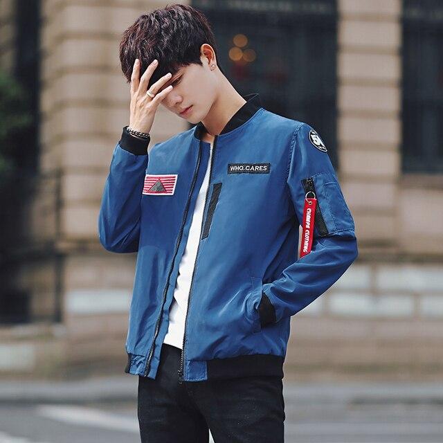 2017 New Bomber Jacket Men Blue Black Pilot Windbreaker Man Korean