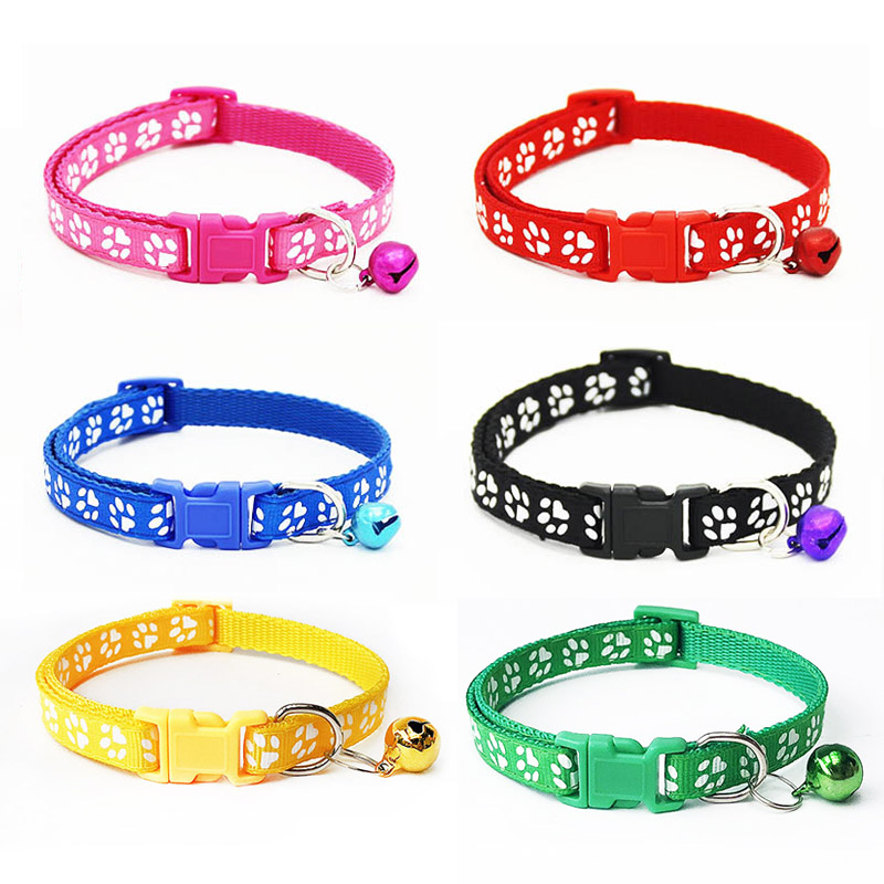 Polyester+pp Small Cats Dog Collars With Bell Cat Pet Collar Breakaway Adjustable Dog Puppy Bling Paw Prints Coleiras De Gato