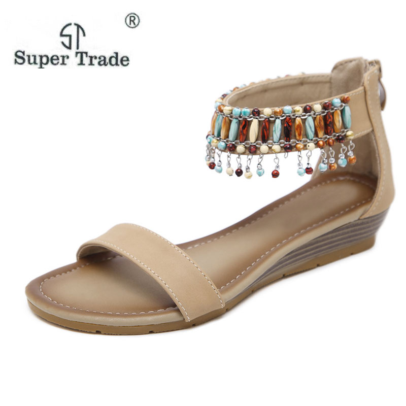 SUPER TRADE 2018 New Styles Of National Style Handmade Sandals Women Sandals Rome National Style Size 35-42 Women Summer Shoes