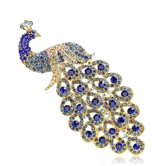 85462f41415 2019 Hot Jewelry Pin Accessories Animal Brooch crystal from Swarovski Extra  Size Royal Blue Crystal Rhinestone Peacock Brooch