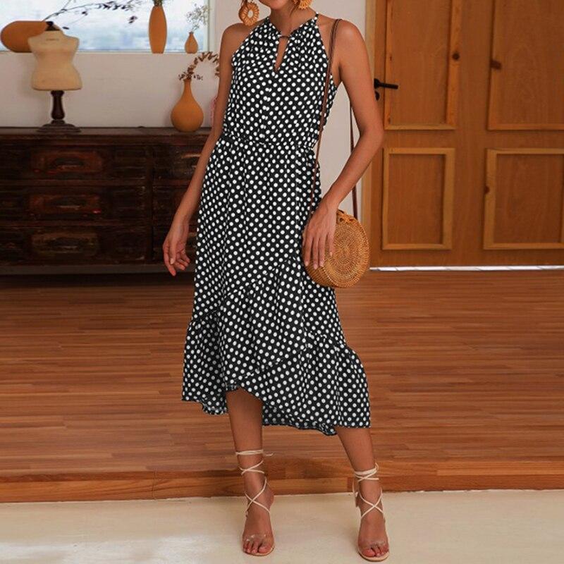 2019 Hot Sale Summer Womens Polka Dot Sleeveless Ruffle Maxi Dress Holiday Beach Halter Neck Sundress Black Coffee Casual Dress in Dresses from Women 39 s Clothing