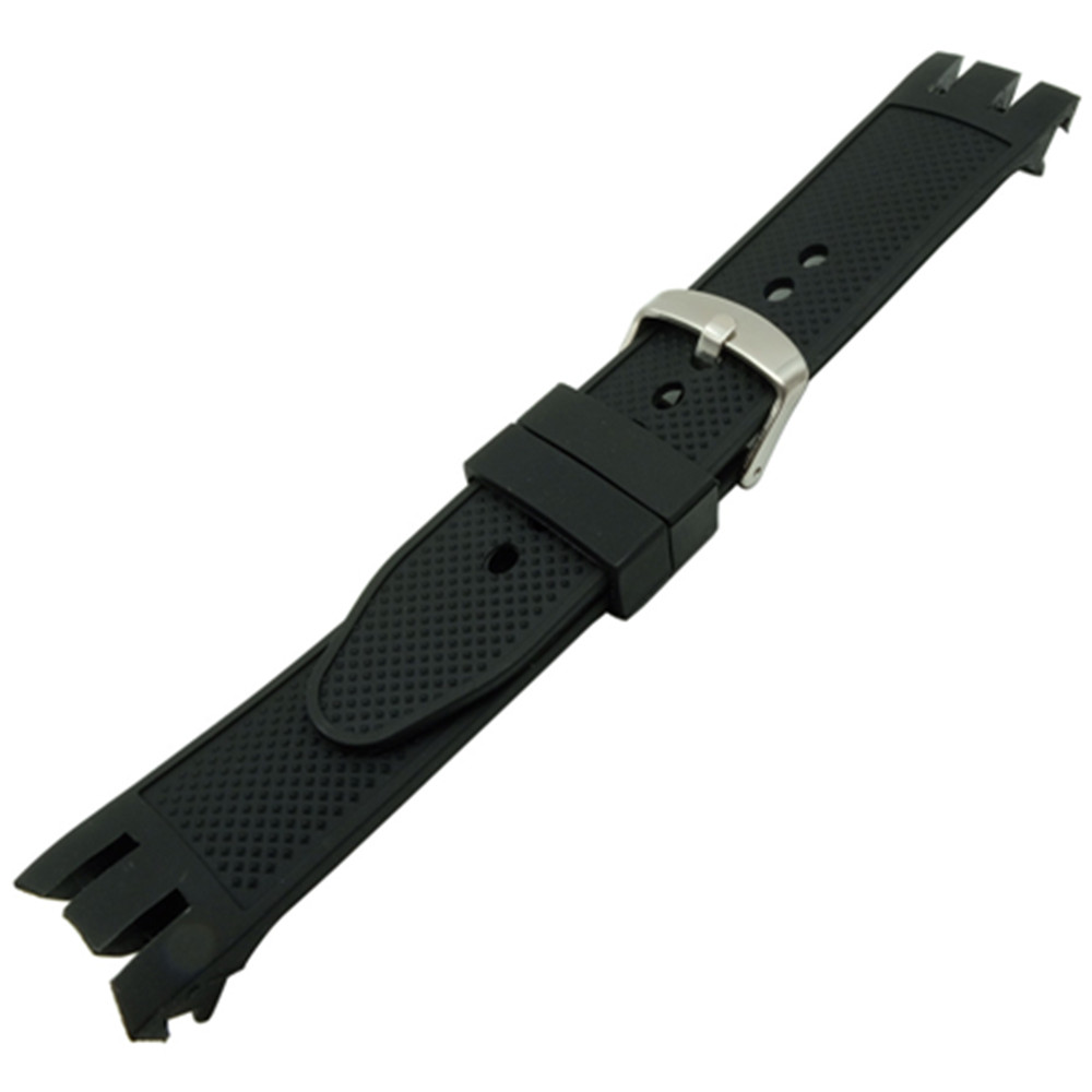 New Rubber Strap 21mm black double deep recesses Replacement Watch Band Strap for Swatch YRS Watch Watchband And Tool in Watchbands from Watches