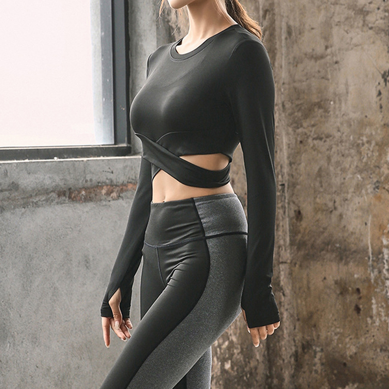Women Fitness T Shirt Tights Casual Long Sleeve t-shirt Quick Drying Exposed Umbilical Cross Design Run Clothing Top Tee