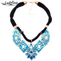 new fashion jewelry hot style braided rope necklace pendant green choker statement necklace women wholesale B241