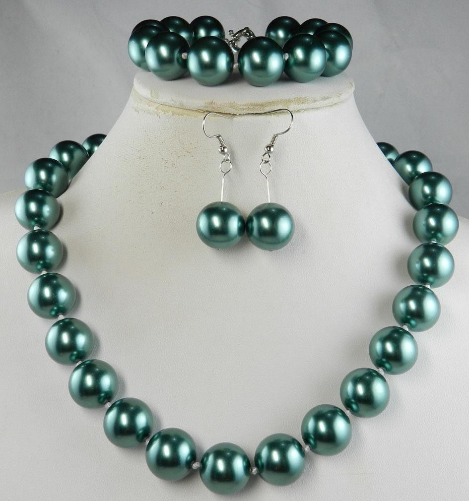free shipping 12mm Green South Sea Shell Pearl Necklace Bracelet Earring AAA style Fine Noble real Natural