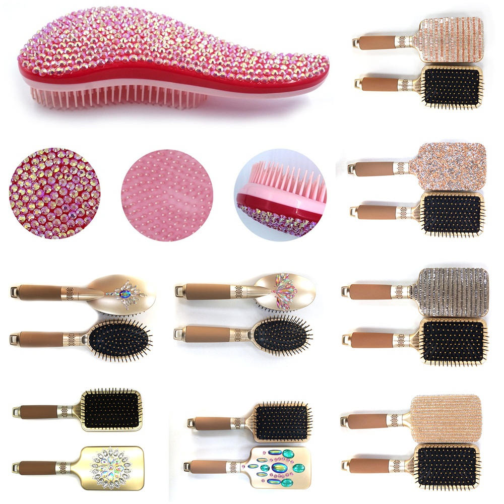 Magic Hair Comb Tangle Hair Brush Scalp Professional Hairbrush Women Hairdressing Jewelry Gems Rhinestone Massage Shampoo Brush