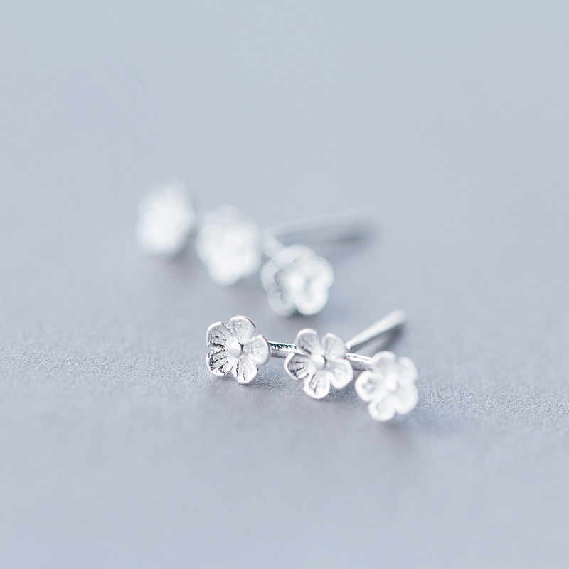 925 Sterling Silver Prevent Allergy Flower Stud Earrings for Women School Grils Kids Wedding Earrings Jewelry Gift eh824