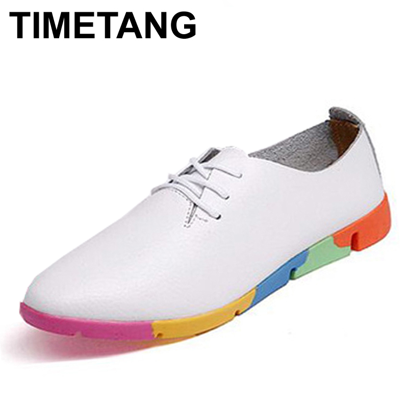TIMETANG Autumn spring new lace leather women flat white shoes pointed deep mouth soft bottom leisure flat colorful shoes woman the spring and autumn new white shoe leather strap female flat shoes pointed deep soft bottom shoes casual student