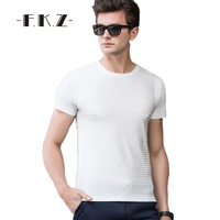 FKZ Stylish Men Tshirt Summer Short Sleeved Male Tops Tees Soft Casual Solid T Shirts Male