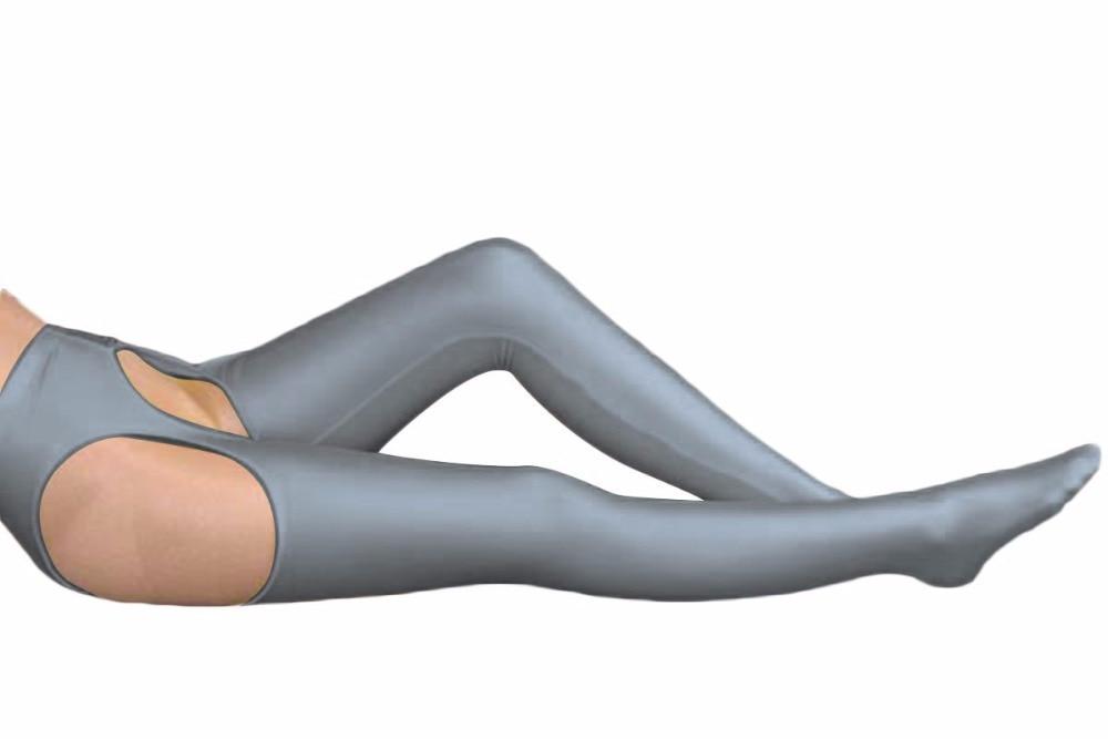Dark gray Lycra Spandex Womens Tight Belt Sexy Zentai Stocking Halloween Party Cosplay Zentai suit