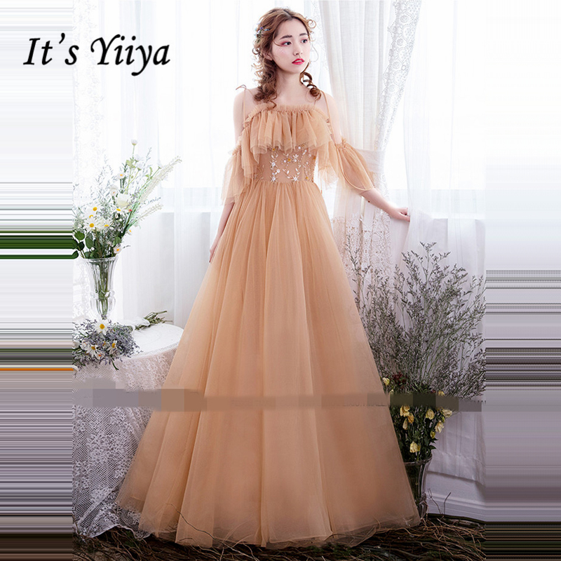 It's Yiiya   Evening     Dresses   2018 Spaghetti Strap Floor Length Fashion Designer High Quality   Evening     Dress   Party Gown LX922