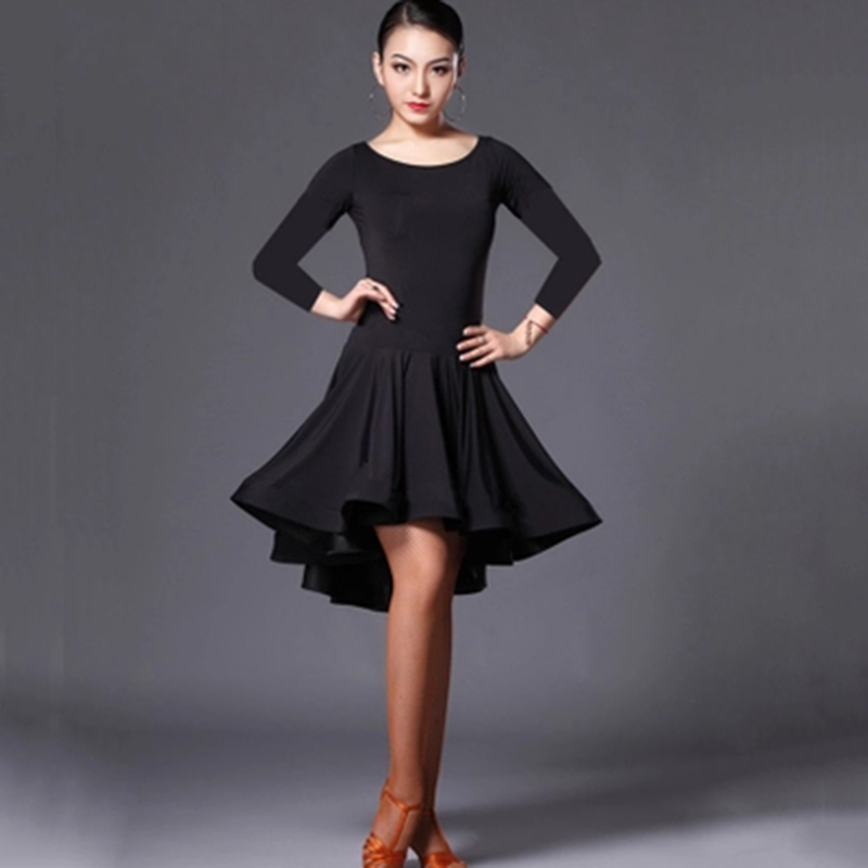 Latin Dance Skirt Woman Practice Dress 2019 Performance Latin Dance Skirt Red Black Woman Rumba Cha Cha Latin Dance Dresses F1