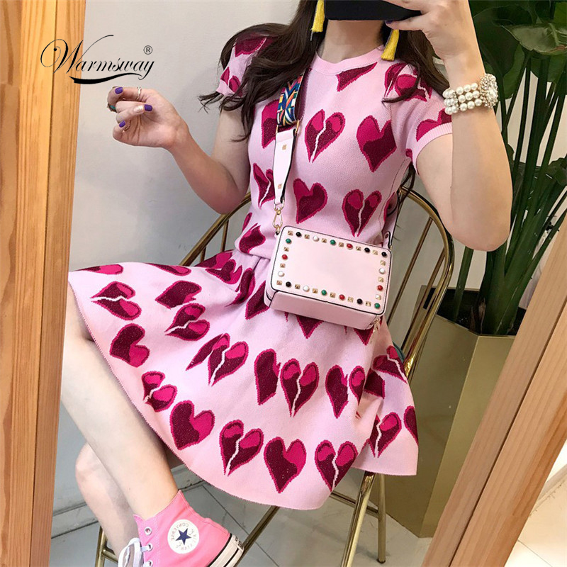 2019 Summer New Girls Two Piece Suit Clothing Love Pattern Short Sleeve Pink T-Shirt + High Waist Pleated Skirt Sets Women C-202