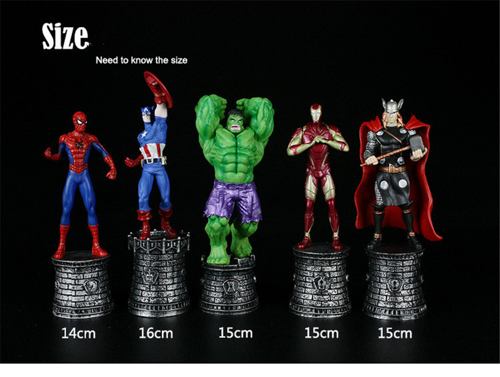Chess figure toys Hulk Spiderman  American Captain Iron man Thor Super Heroes PVC Collectible Model toys