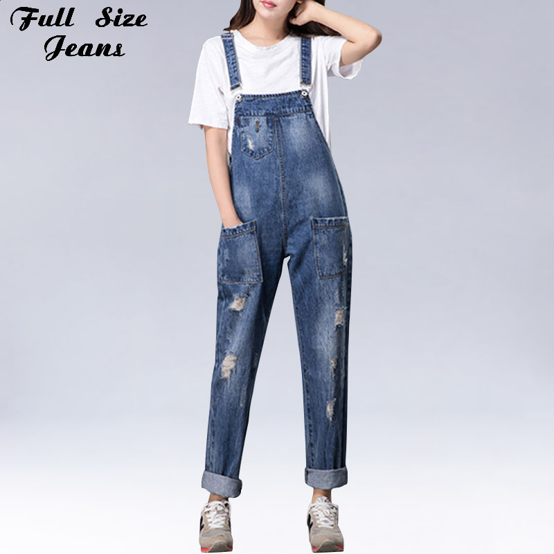 Plus Size Women Wide Leg Loose Ripped Denim Overalls Europe Jumpsuit Boyfriend Hole Pockets Jeans Romper S M XL 3XL 5XL 6XL