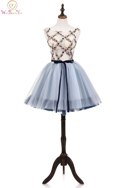 Above Knee Mini Cocktail Dresses Sleeveless A-line Floral Print With Beading Satin Bow Belt O-neck Illusion Tulle Top Prom Dress