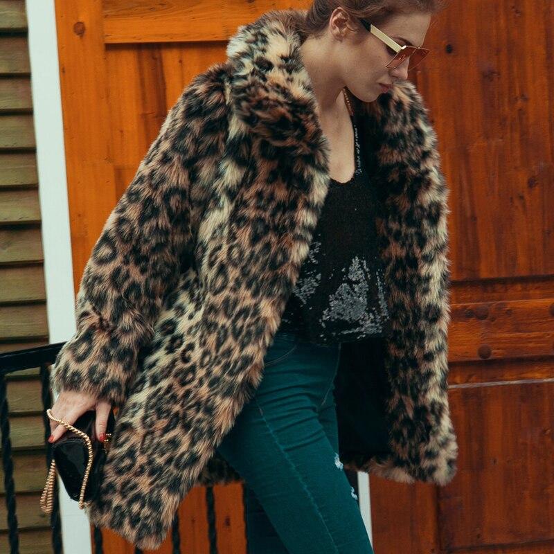 Soprabito Tasca Trench Giacca Lusso Femminile Caldo Peloso Delle Allentato Cappotti Cappotto Leopardo Pelliccia Lungo Donne Faux Di 2018 Elegante Inverno Del Visone wX8nPO0k