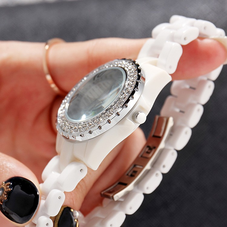 GEDI Fashion White Ceramics Women Watches Top Luxury Brand Ladies - Dameshorloges - Foto 4