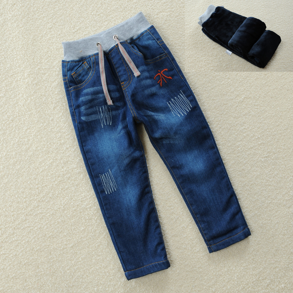 2018 New Autumn Winter Boys Warm Thick Jeans For Baby Infant Casual Pants Boys Trousers Children Denim Kids 2-10year blue Jeans japan style brand mens straight denim cargo pants biker jeans men baggy loose blue jeans with side pockets plus size 40 42 44 46
