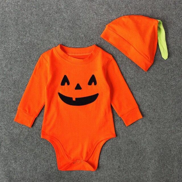 f4203c9e03eb Baby Kids Halloween Pumpkin Emoji Romper Costume Infant Child Jumpsuit  Cotton Sleepwear Pyjamas Suit Long Sleeves Shirt For 1-3T