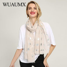 Wuaumx Brand 2018 Spring Autumn Scarf For Women Soft Scarves Tassel Long Silver insect Printed Shawl hijab Foulard Femme