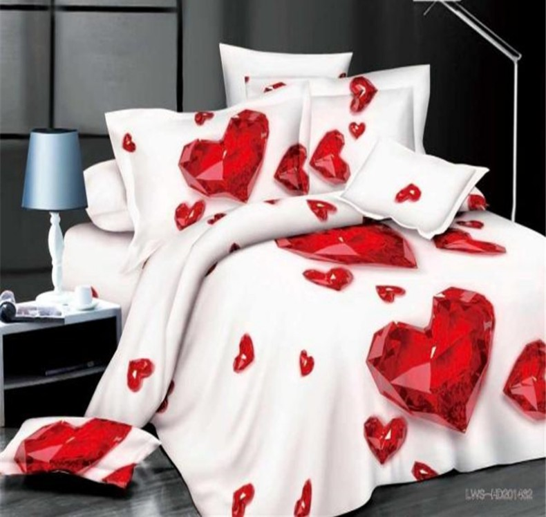 Red Heart Bedding Set Love Bed Sheets Quilt Duvet Cover Bedspread Bed In A  Bag Linen