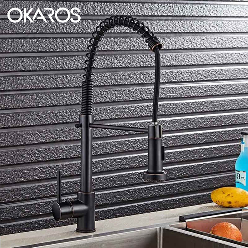 OKAROS Pull Out Kitchen Faucet Brass Nickle Brushed 360 Degree Rotation Single Handle Vessel Sink Hot Cold Water Tap Mixer C014