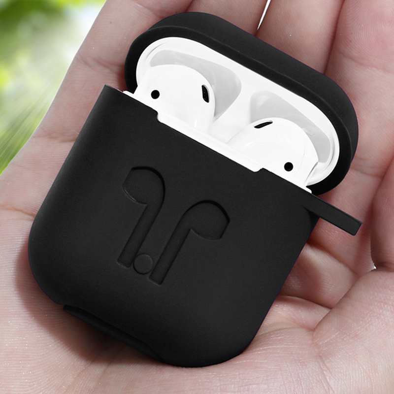 Silicone Earphone Case For Apple Airpods With Hanger Hook Protective Cover Storage Hard Bag Box Earphone Accessories Cases in Earphone Accessories from Consumer Electronics