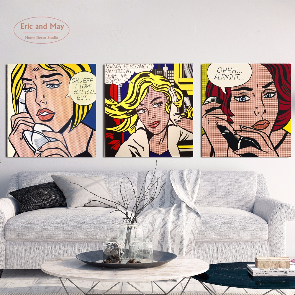 Pop Art Girls Love Canvas Art Print Painting Poster Wall Pictures For Room Home Decoration Home Decor No Frame