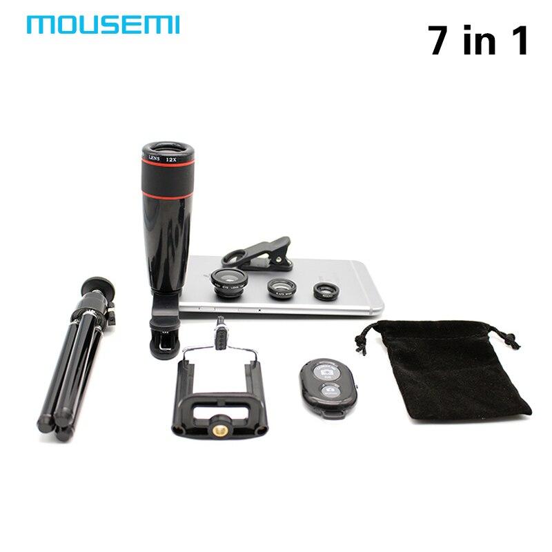 bilder für Neue 7in1 12x Zoom Kamera Tele Teleskop Universal Handyhalter 3in1 Objektiv Fisheye Linsen Bluetooth Shutter Len