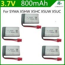 5pcs/set 3.7V 800mah Battery 1S For Syma X5HW X5HC X5UW RC Quadcopter Spare Parts 3.7 V Battery RC Camera Drone Accessories