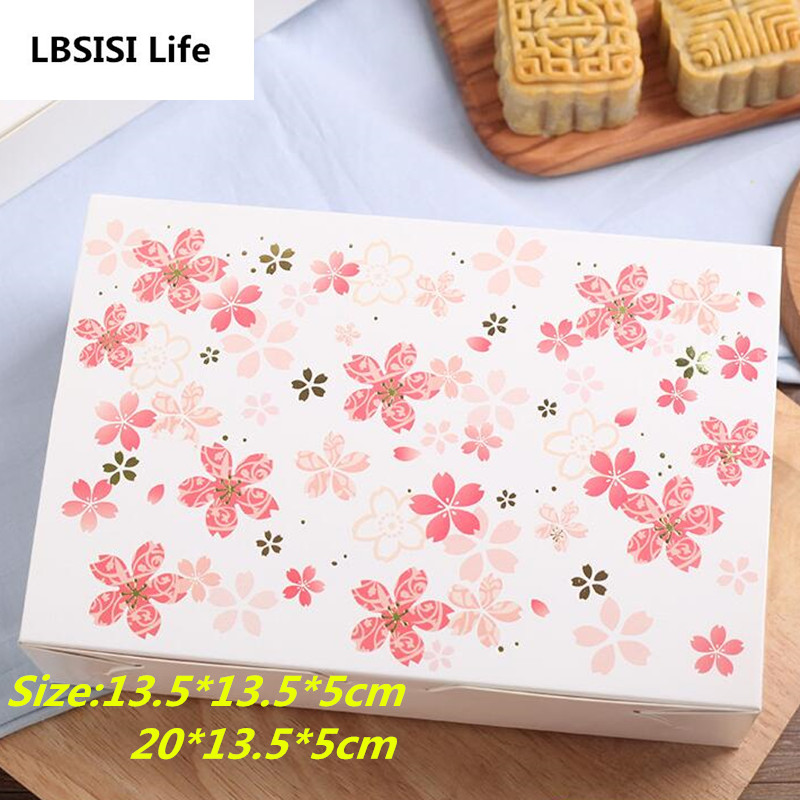 10pcs Cherry Blossoms Flower Paper Chocolate Cake Box Party Gift Packaging Cookie Candy Nuts Box DIY Wedding Gift Packing Box