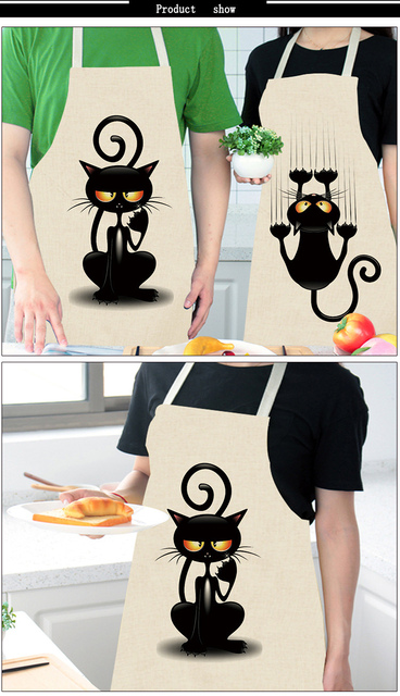 For Pet Fans Home Decors Kitchen Cute Cat Printed Sleeveless Cotton Linen Apron  My Pet World Store