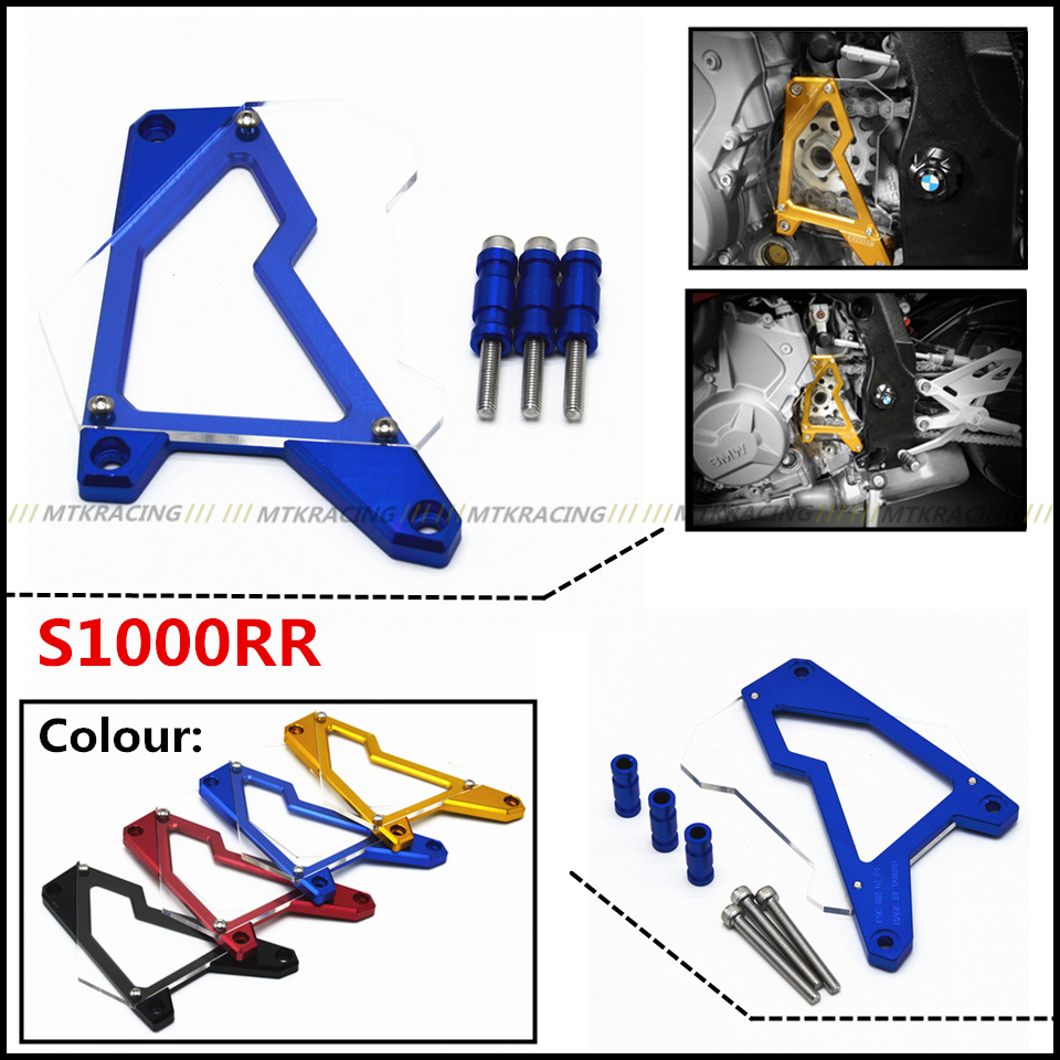 Motorcycle Front Sprocket Cover Panel Left Engine Guard Chain Cover Protection For BMW S1000R S1000RR HP4 S1000XR 2010-2016 mgoodoo cnc aluminum motorcycle left engine guard chain protector front sprocket cover panel for yamaha r3 r25 2014 2015 2016