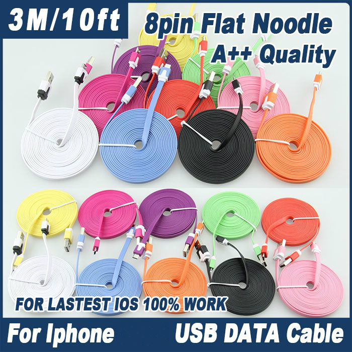 1M 2m 3m 8pin Flat Noodle Colorful Sync Data Charging Charger Adapter Usb Cable for Iphone
