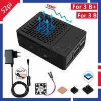 52Pi ABS noir/blanc boîtier boîtier housse Kit avec dissipateurs et ventilateur de refroidissement pour Raspberry Pi 3 B +/3/2 modèle B