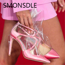 2018 Fashion Modern Fancywork Wanita Pompa Kulit Asli Kaki Menunjuk Sepatu Pesta PVC Transparan Wanita Tipis High Heels