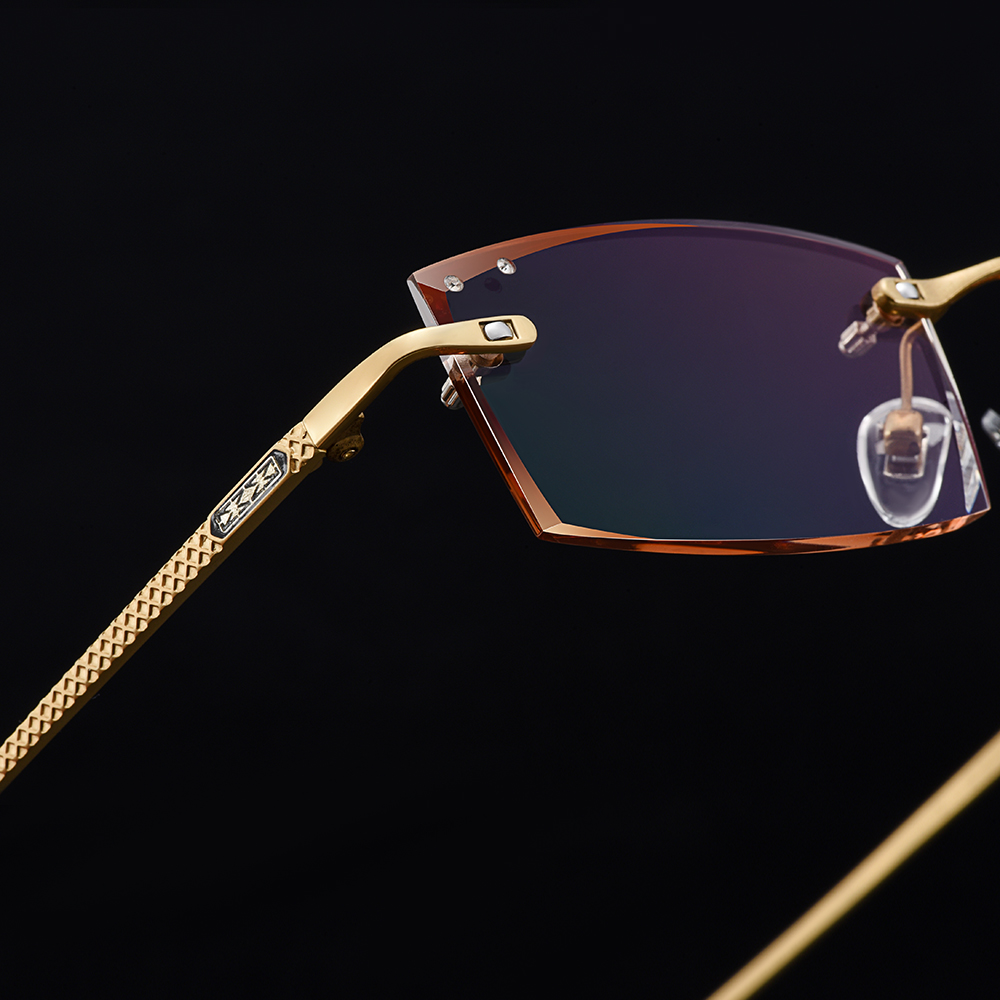 Image 3 - Gmei مستطيل بصري الذهبي سبائك التيتانيوم الرجال الماس التشذيب بدون إطار نظارات التدرج البني تينت بلانو العدسات Q6607-في إطارات النظارات من الملابس والإكسسوارات على AliExpress