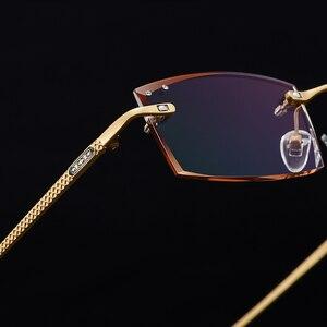 Image 3 - Gmei אופטי מלבן זהב טיטניום סגסוגת גברים של יהלומי זמירה ללא שפה משקפיים מסגרת שיפוע חום גוון Plano עדשות Q6607