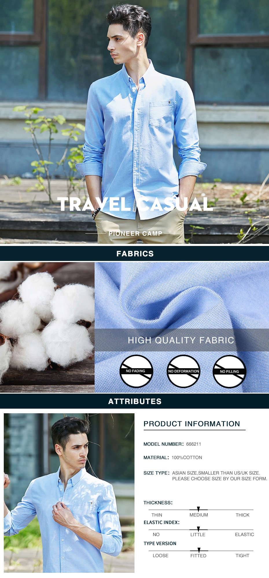 Pioneer Camp solid casual shirt men brand clothing long sleeve shirt male top quality pure cotton plus size white blue grey
