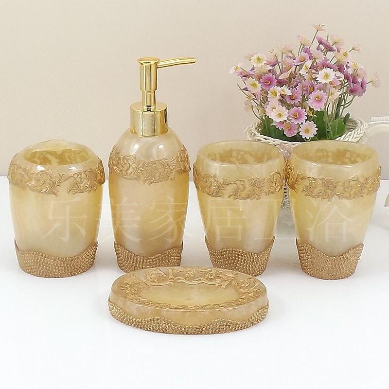Ensemble de salle de bain Gel douche bouteille rechargeable accessoires de salle de bain porte-brosse à dents 5 pièces/ensemble