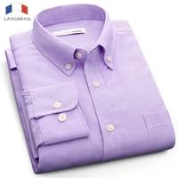 Langmeng Plus Size 5XL Solid Color Social Dress Shirt Men Long Sleeve Spring Autumn Mens Oxford