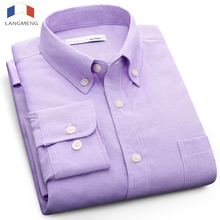 Langmeng plus size 5XL solid color Social dress shirt men long sleeve spring autumn mens oxford casual camisa masculina