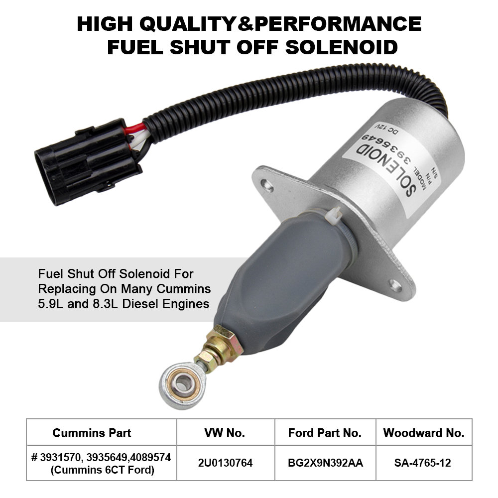 "3/"" Diesel Fuel Shut Off Solenoid For Ford Cummins 6CT 3931570,3935649 5.9L 8.3L"