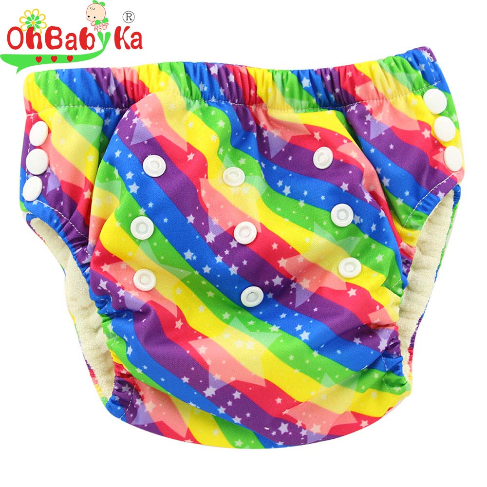 Ohbabyka Bamboo Training Pants Waterproof Adjustable Size Baby Cloth Nappy Pants Toddler Potty Training Pants Absorbent Diapers