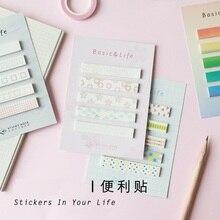 цены 4 pcs  Basic pattern Sticker Foral sticky note Rainbow color index sticker Diary sticker Stationery Office School supplies FM910