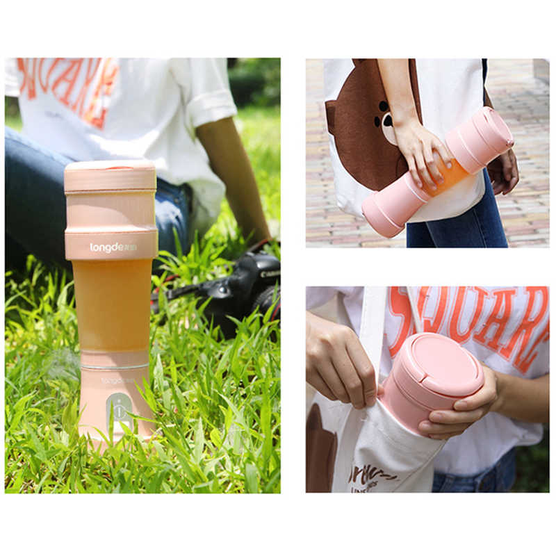 2018 Nova 500 ml Garrafa Fruit Blender Blender usb Dobrável e Portátil Recarregável 4000 mah Bateria De Lítio Ourdoor Home Office
