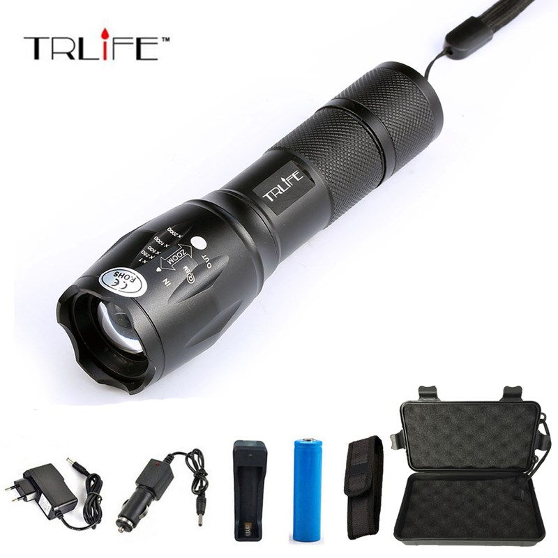 8000LM 5 modes Zoomable CREE XML-T6 LED Flashlight Waterproof Lanterna Torch Light+DC/Car Charger+18650+Holster Holder+Box rechargeable 2000lm tactical cree xm l t6 led flashlight 5 modes 2 18650 battery dc car charger power adapter