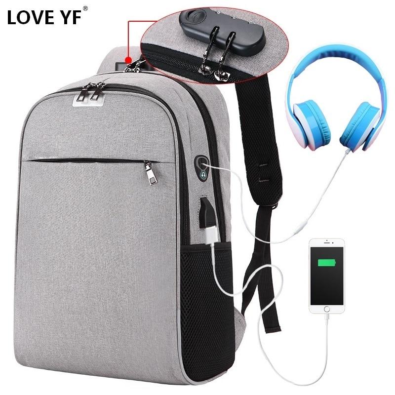 Adolescente usb anti-roubo senha mochilas de viagem leve masculino e feminino portátil saco de escola bolsa de ombro mochila de escola